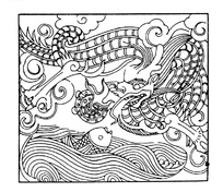 露出水面的鱼和空中的飞龙矢量图