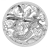 zhongguoyijisheqingpian_中国古典图案-蝙蝠和中国结以及云纹构成的圆形图案