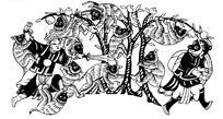 中国古典图案-孙悟空和拿着三叉戟的二郎神