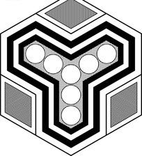 六边形图案里的黑白几何图案