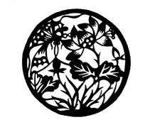 圆形里的花朵剪纸图案图片