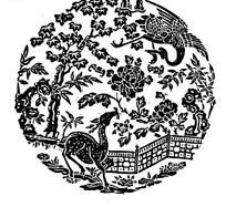中国古典图案-仙鹤和花朵叶子以及鹿构成的圆形图案