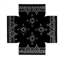 对称花瓣圆点Z线条构成的民间布料花纹图案