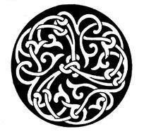 勾连缠枝纹构成的圆形花纹图案