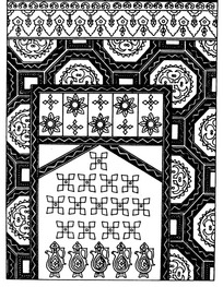 壶纹对称花朵纹连弧纹几何纹构成的民族花纹图案