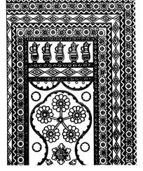 壶纹几何形对称花朵纹连弧纹构成的民族花纹图案