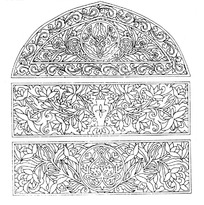 卷草缠枝纹花瓶莲花纹构成的上拱下方三段图案