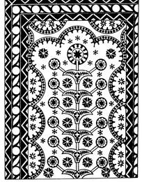 连弧纹几何纹对称花朵纹构成的民族花纹图案