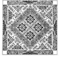 菱形方形压叠田格花纹缠枝花纹几何纹构成的图案