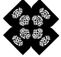 菱形花瓣花蕊构成的对称民间布料花纹图案