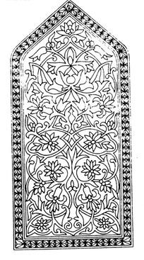 上三角下方框内缠枝花纹八瓣花构成的图案