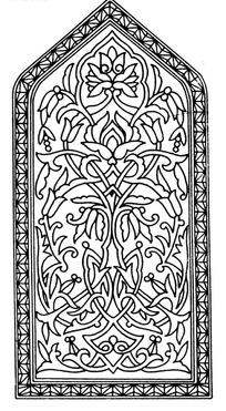 上三角下方框内缠枝花纹花果构成的图案