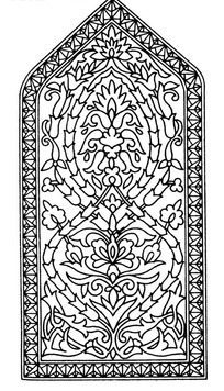 上三角下方框内缠枝花纹节连花瓣纹构成的图案