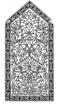 上三角下方框内缠枝花纹锯齿叶纹构成的图案