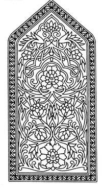 上三角下方框内缠枝花纹五瓣花构成的图案