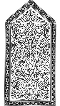上三角下方框内五瓣花和缠枝花纹构成的图案