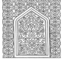 上三角下方框外花纹和框内缠枝花纹构成的图案
