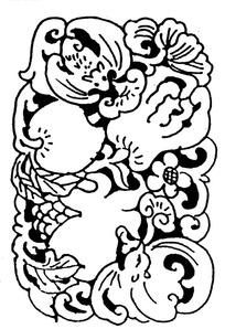 古典石榴蝙蝠图案矢量素材