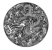 古典圆形龙纹矢量素材