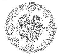 古典圆形祥云如意图案矢量素材
