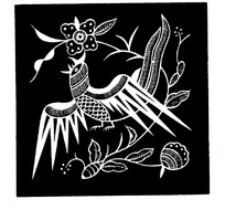金鸡啼鸣黑白图案矢量素材
