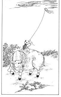 骑在牛背上放风筝的小孩