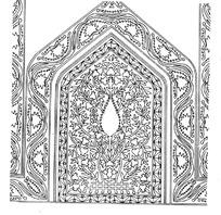 上尖下方波曲卷草纹边框和缠枝纹构成的框图