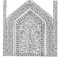 上尖下方卷草花纹边框和缠枝花纹构成的框图