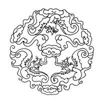 圆形龙纹图案矢量素材