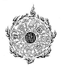八吉祥古字纹和佛八宝缠枝纹火纹构成的图案