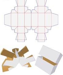 一款带展开图和3D图的上下对称盖合盒型