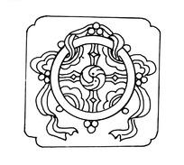 中国古典图案-法轮和卷曲条带构成的图案