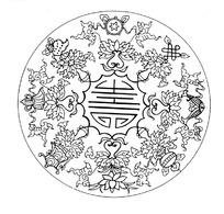 中国古典图案-佛八宝古字寿连弧纹构成的圆形图案