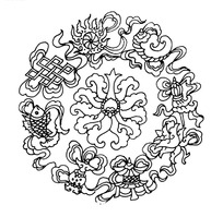 中国古典图案-佛八宝环绕花朵纹构成的图案