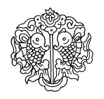 中国古典图案-两个金鱼