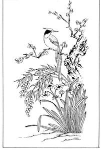 中国古典图案-站在梅花树上的小鸟