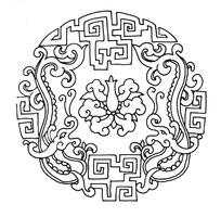 古典图案圆形龙纹矢量素材