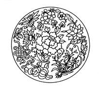 古典圆形牡丹花矢量素材