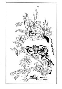 岩石上的小猫与花朵白描图