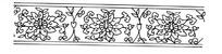 重复的叶子和花朵图案线描图