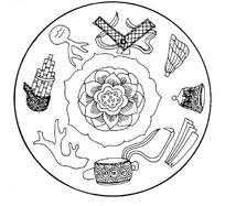 中国古典图案-九个古代吉祥纹饰构成的圆形图