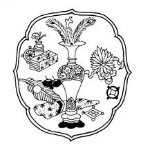 博古装饰古代器物矢量图