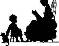 念书的妈妈和小孩小猫剪影