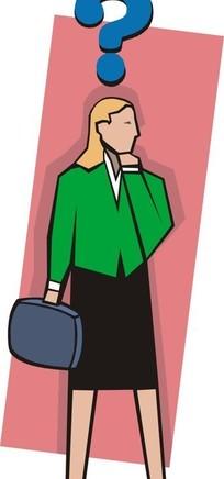 身穿西装拿着公文包头上有个问号的卡通女人
