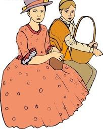 手绘抱着篮子坐着的欧洲古代女人