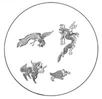 手绘传统四灵圣兽吉祥图