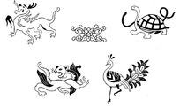 手绘四灵圣兽吉祥图