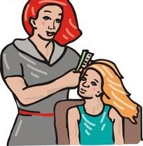 正在帮女儿梳头的卡通母亲
