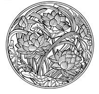 中国古典图案-荷花萱草纹圆形图案