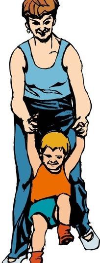 和小孩玩耍的爸爸妈妈